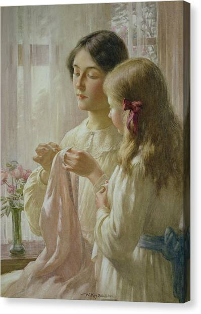 Sewing Canvas Print - The Lesson by William Kay Blacklock