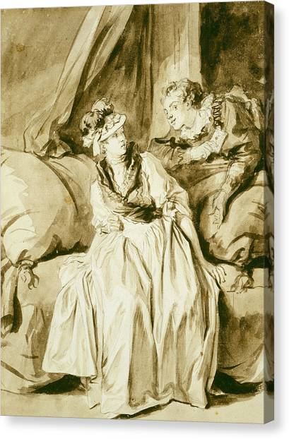 Rococo Art Canvas Print - The Letter Or The Spanish Conversation by Jean-Honore Fragonard