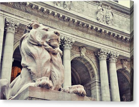 The Library Lions Canvas Print by JAMART Photography