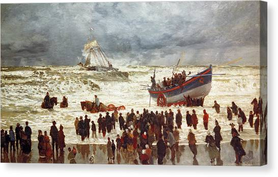 Sail Boats Canvas Print - The Lifeboat by William Lionel Wyllie