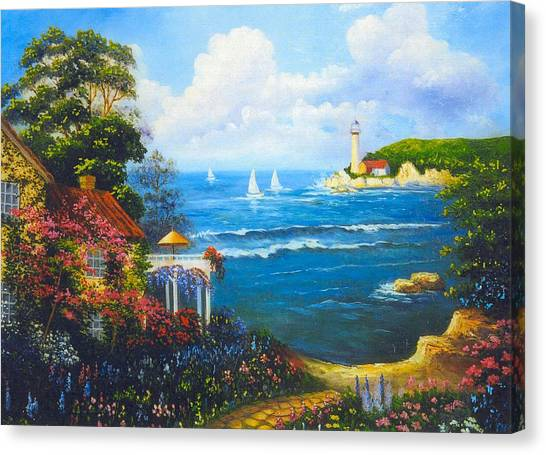 The Light House By The  Sea Canvas Print by Jeanene Stein