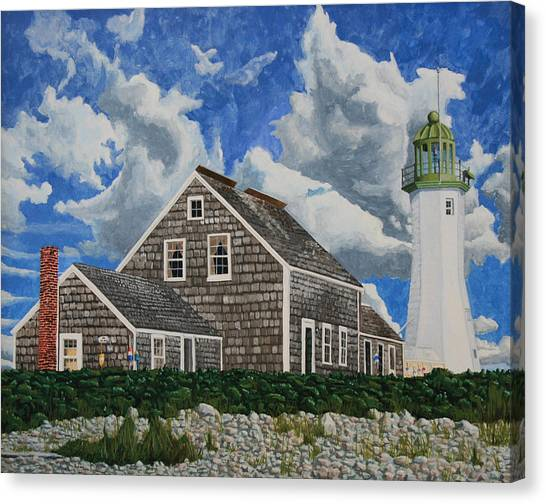 Canvas Print featuring the painting The Light Keeper's House by Dominic White