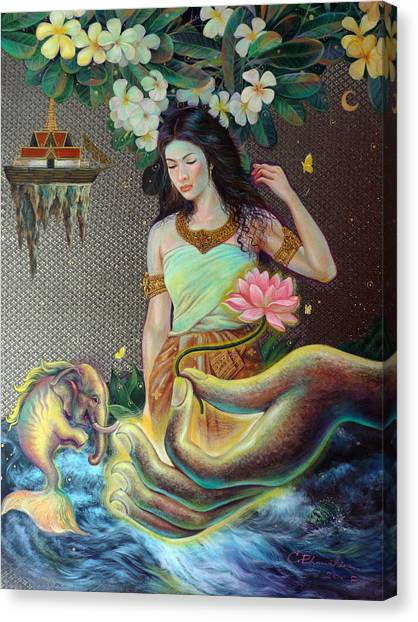 The Light Of Buddhism Canvas Print by Chonkhet Phanwichien