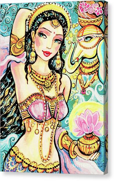 Spiritual Portrait Of Woman Canvas Print - The Light Of Lakshmi by Eva Campbell
