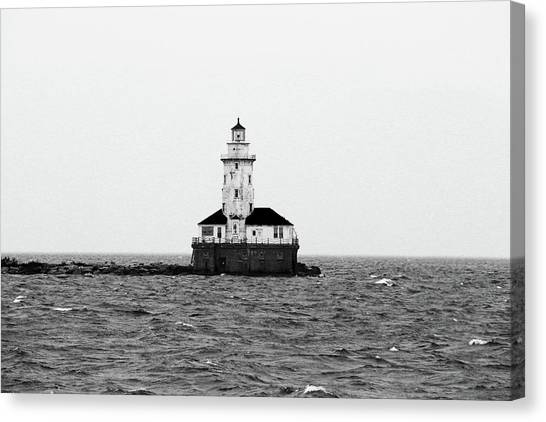 The Lighthouse Black And White Canvas Print