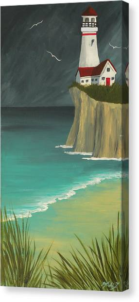The Lighthouse On The Cliff Canvas Print