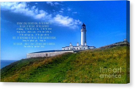 The Lighthouse On The Mull With Poem Canvas Print