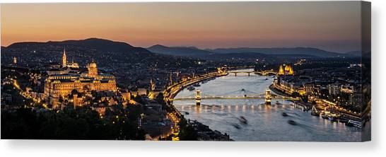 Medieval Canvas Print - The Lights Of Budapest by Thomas D Morkeberg