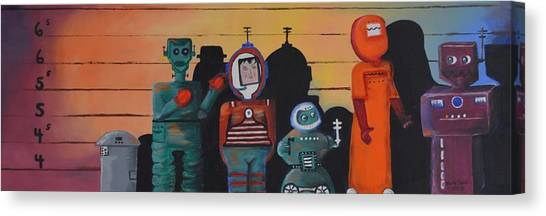 Illegal Aliens Canvas Print - The Line Up by Betty Dobbin