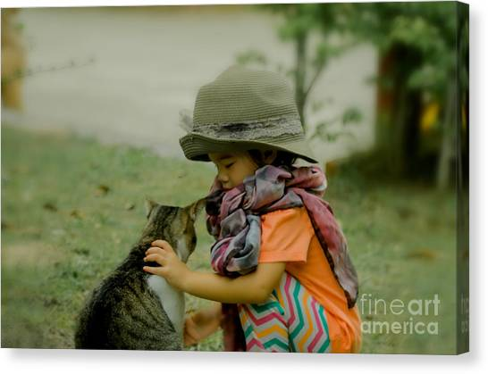 The Little Girl And Her Cat Canvas Print