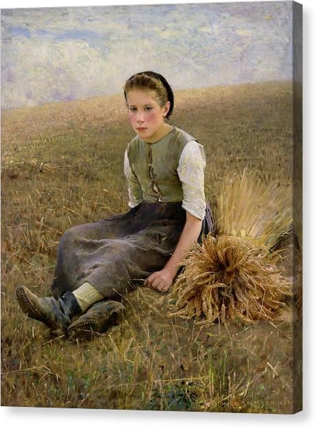 Rural Scenes Canvas Print - The Little Gleaner by Hugo Salmson