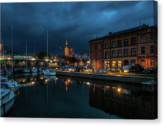 The Little Harbor In Stralsund Canvas Print