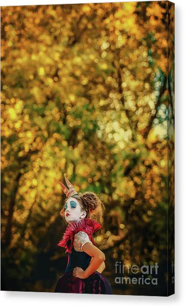 Canvas Print featuring the photograph The Little Queen Of Hearts Alice In Wonderland by Dimitar Hristov
