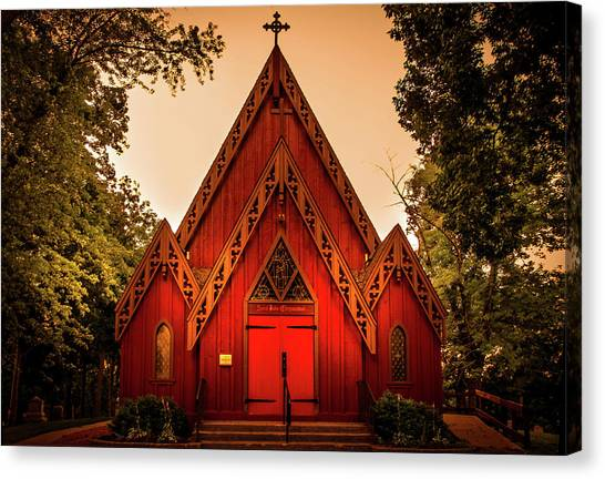 Bishop Hill Canvas Print - The Little Red Church by Art Spectrum