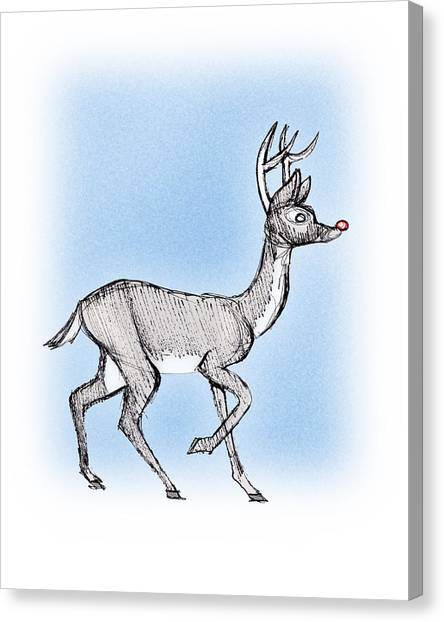 Canvas Print featuring the drawing The Little Reindeer  by Keith A Link