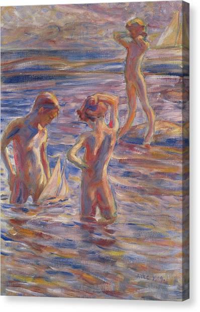 Little Boy In Tide Canvas Print - The Little Sailing Club by Johan Axel Gustav Acke