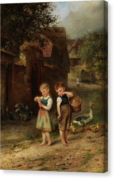 Boucher Canvas Print - The Little Shepherd Geese by Anton Heinrich Dieffenbach