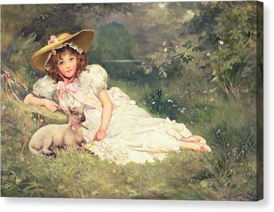 Laying Canvas Print - The Little Shepherdess by Arthur Dampier May