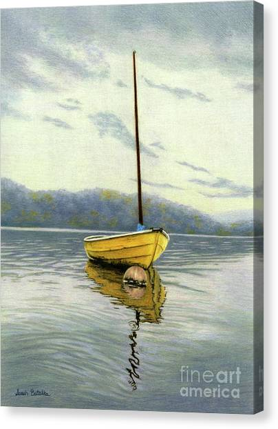 Fishing Boats Canvas Print - The Yellow Sailboat by Sarah Batalka