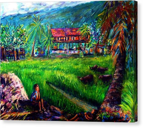 The Local People's Life Of Nakornnayok  Canvas Print