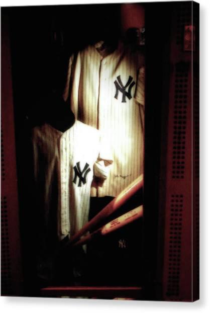 Joe Dimaggio Canvas Print - The Locker  Mickey Mantle's And Joe Dimaggio's Locker by Iconic Images Art Gallery David Pucciarelli