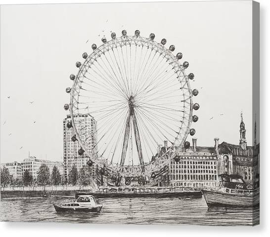 United Kingdom Canvas Print - The London Eye by Vincent Alexander Booth