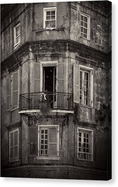 The Lone Balcony Of New Orleans In Black And White Canvas Print