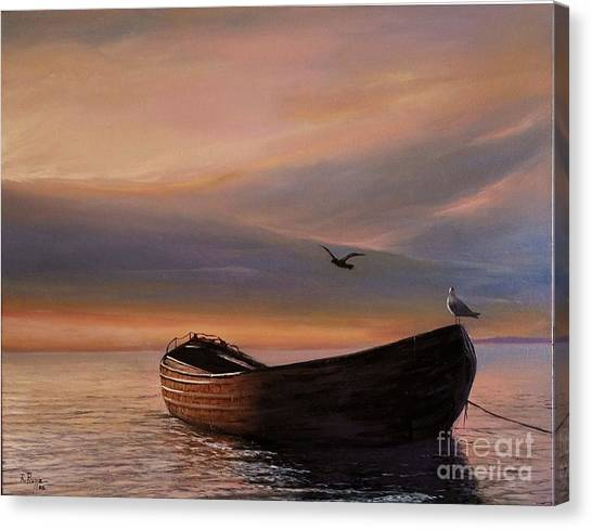 A Lone Boat Canvas Print