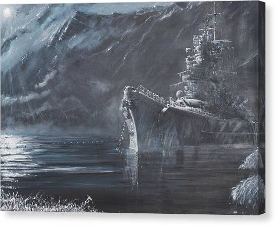 Battleship Canvas Print - The Lone Queen Of The North by Vincent Alexander Booth