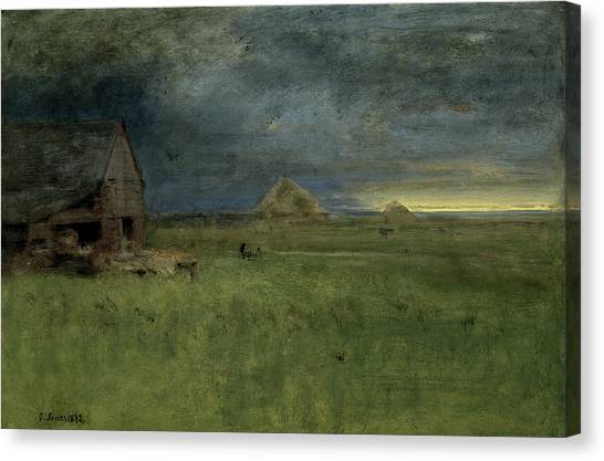 Sunrise Horizon Canvas Print - The Lonely Farm by George Inness