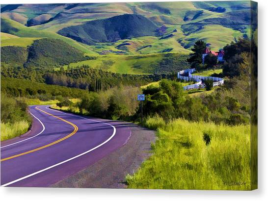 Rolling Hills Canvas Print - The Long Winding Road by Patricia Stalter