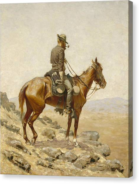 Horses Canvas Print - The Lookout by Frederic Remington