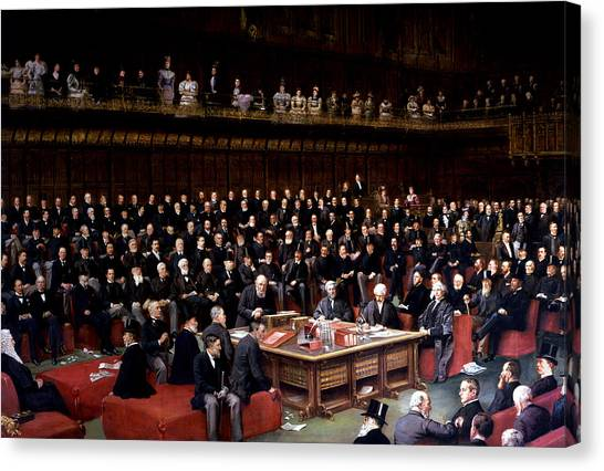 Speakers Canvas Print - The Lord Chancellor About To Put The Question In The Debate About Home Rule In The House Of Lords by English School