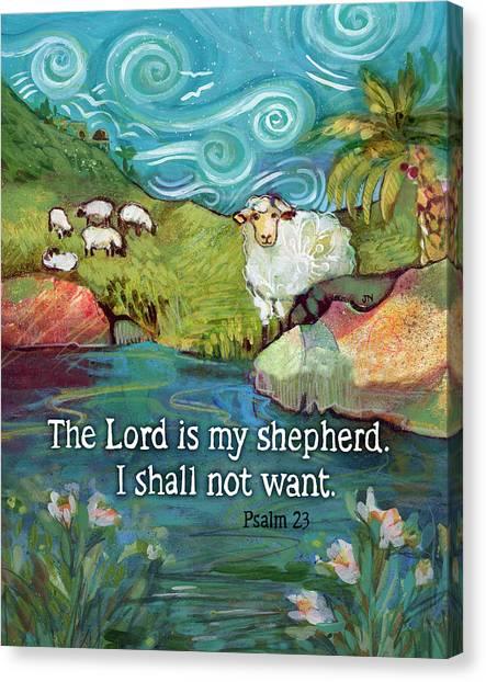 Bible Verses Canvas Print - The Lord Is My Shepherd by Jen Norton