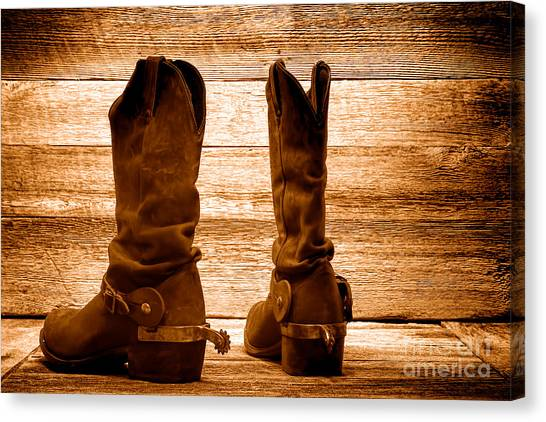 Cowboy Boots Canvas Print - The Lost Boots - Sepia by Olivier Le Queinec