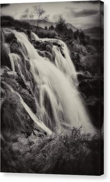 Canvas Print featuring the photograph The Loup Of Fintry In Black And White by Jeremy Lavender Photography