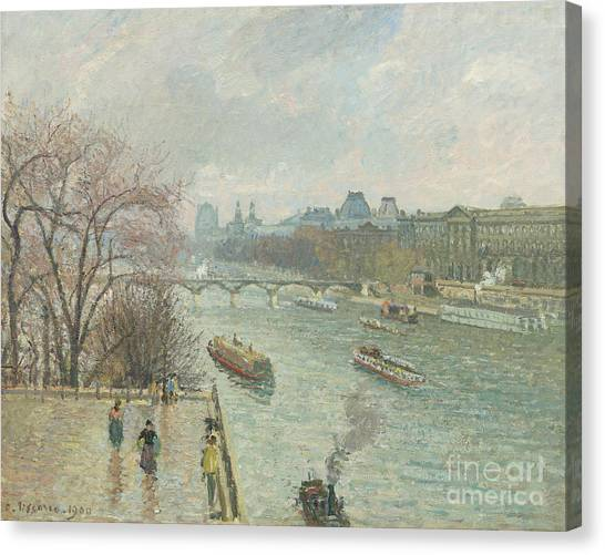 Louvre Canvas Print - The Louvre, Afternoon, Rainy Weather, 1900  by Camille Pissarro