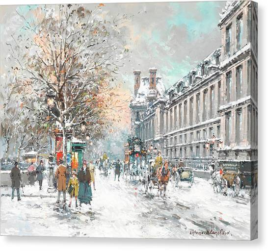 Louvre Canvas Print - The Louvre-winter by Antoine Blanchard