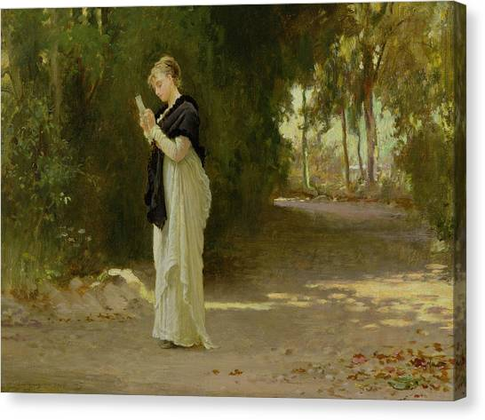 Victorian Garden Canvas Print - The Love Letter by Marcus Stone