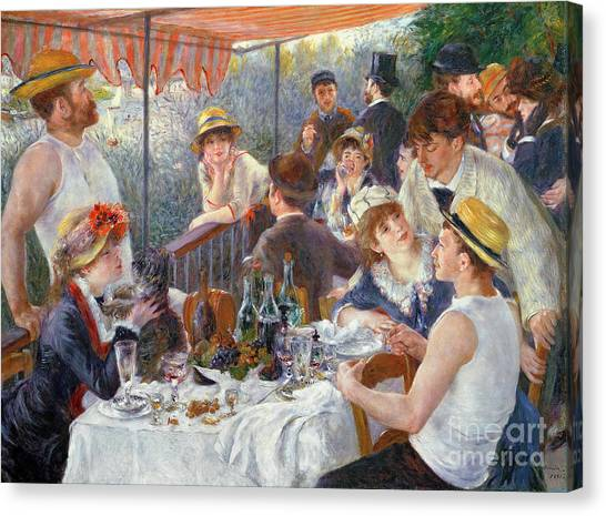 Rights Canvas Print - The Luncheon Of The Boating Party by Pierre Auguste Renoir