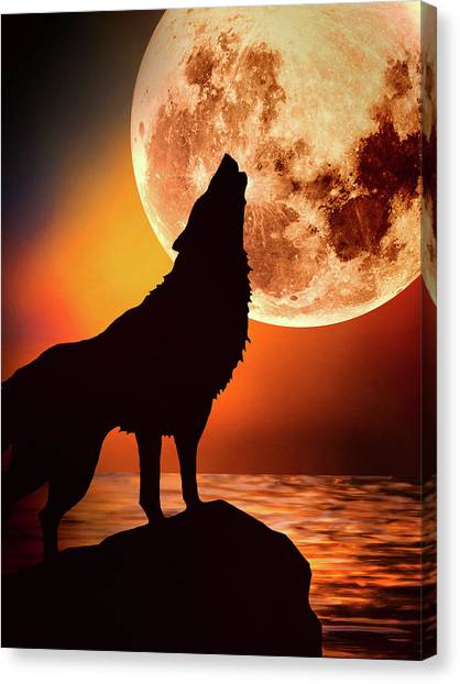 Howling Wolves Canvas Print - The Lure Of The Moon by KaFra Art