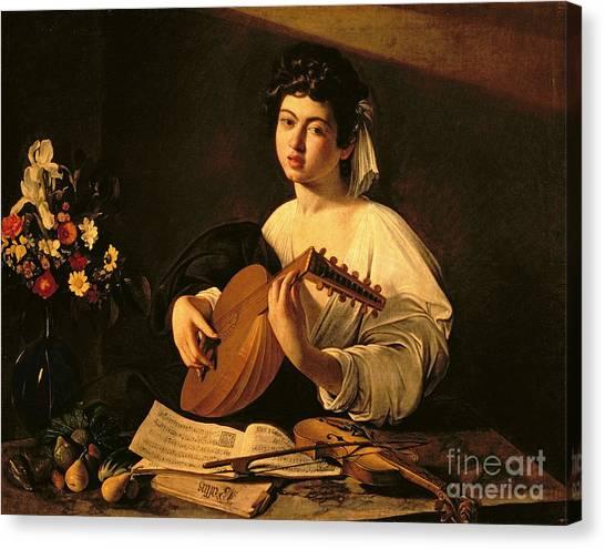 Lute Canvas Print - The Lute Player by Michelangelo Merisi da Caravaggio