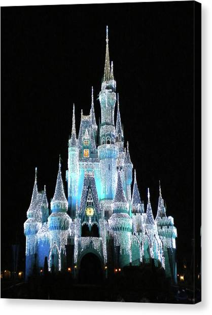 Prince Canvas Print - The Magic Kingdom Castle In Frosty Light Blue Walt Disney World Mp by Thomas Woolworth