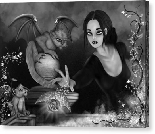 The Magic Rose - Black And White Fantasy Art Canvas Print
