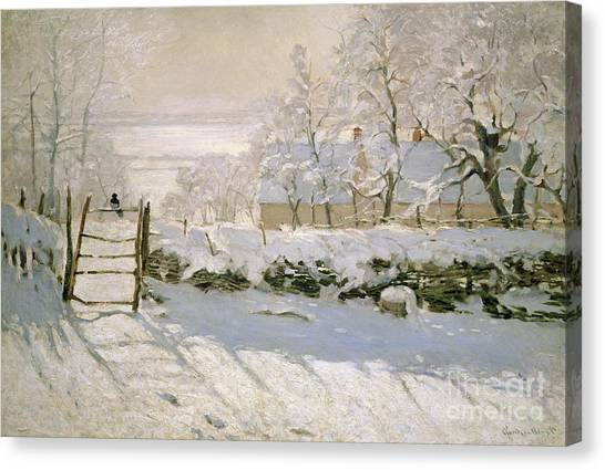 Snow Canvas Print - The Magpie by Claude Monet