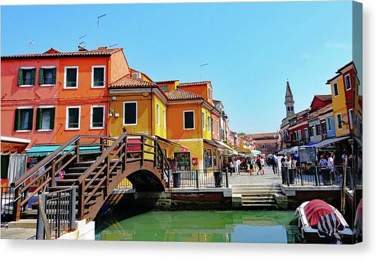 The Main Street On The Island Of Burano, Italy Canvas Print