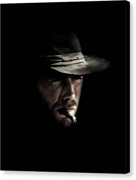 Spaghetti Canvas Print - The Man With No Name by Laurence Adamson