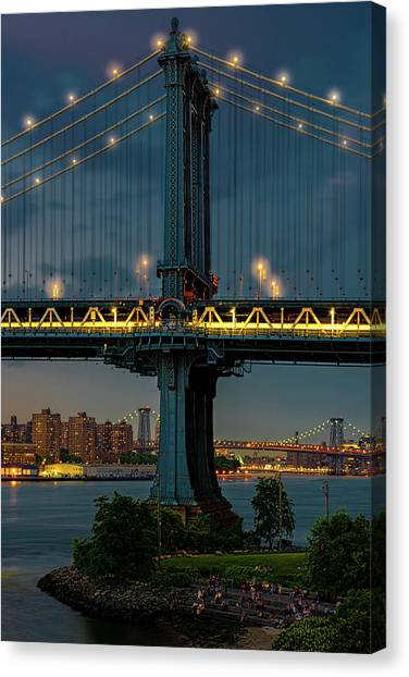 Canvas Print featuring the photograph The Manhattan Bridge During Blue Hour by Chris Lord