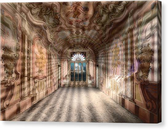 Canvas Print featuring the photograph The Manor House With The Two Knights Hall by Enrico Pelos