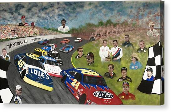 Dale Earnhardt Jr Canvas Print - The Martinsville Speedway by Charles Hill